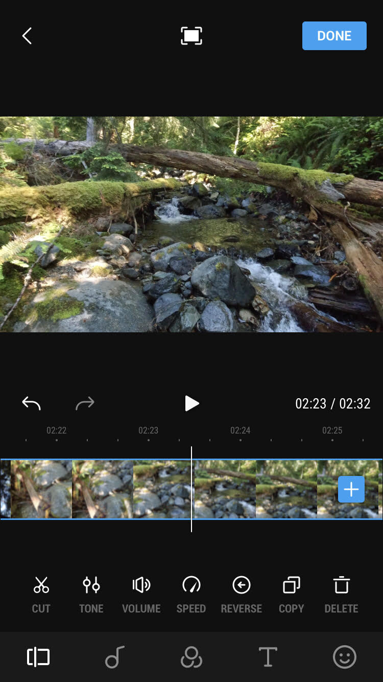 DJI Mimo app for controlling the Osmo Action and editing clips.