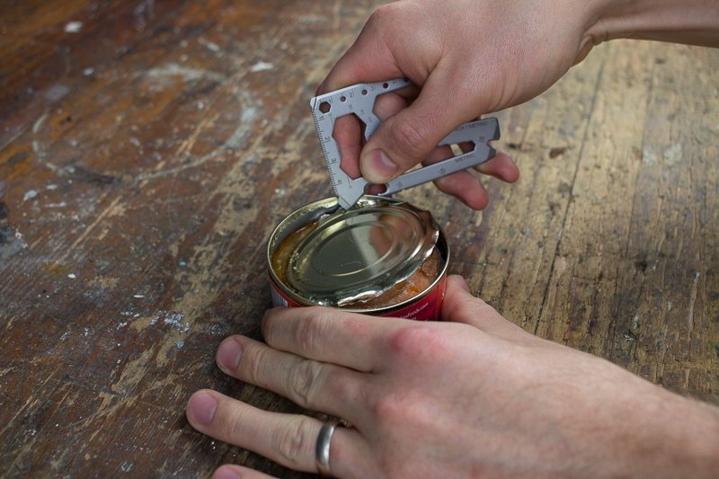 Lever Gear Toolcard opening a can