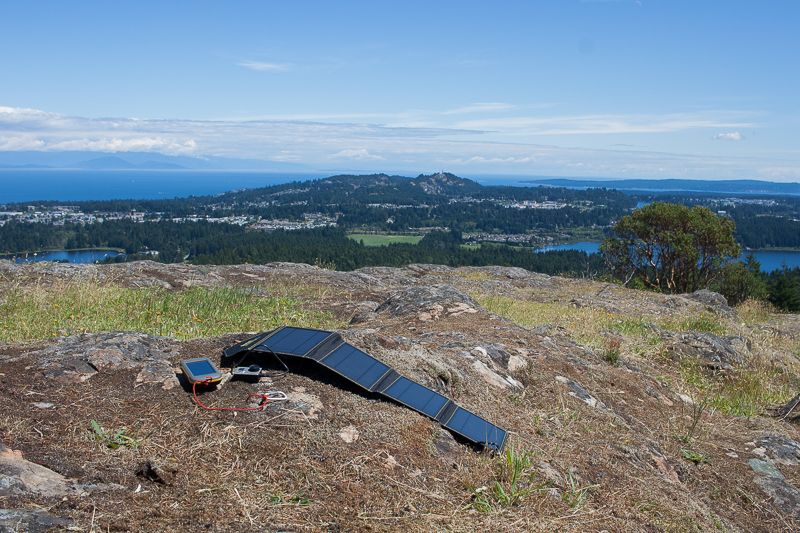 SunJack 14W Solar Panel charging a GPS and GoPro