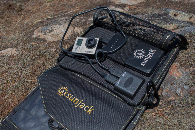 SunJack solar panel can charge 2 USB device at once.