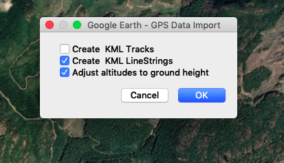 Create KML Linestrings with GPX track in Garmin Basecamp