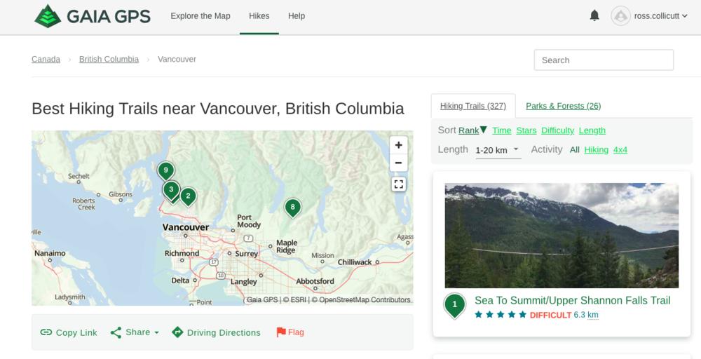 Gaia GPS website