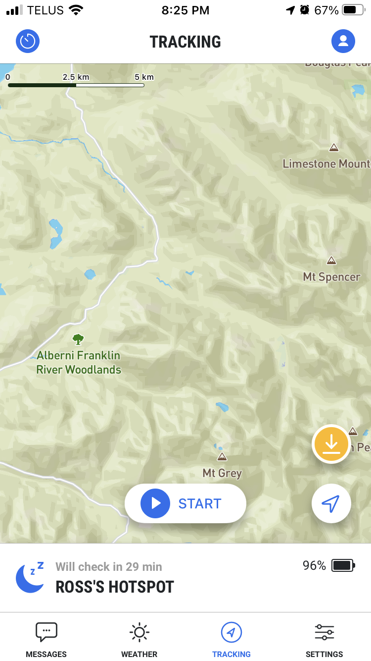 Tracking will show your location at regular intervals on a map you can send to other people.